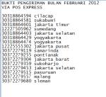 BUKTI PENGIRIMAN BULAN FEBRUARI 2012